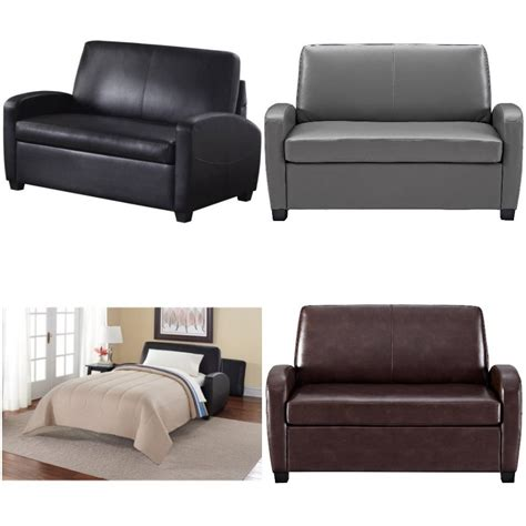 Grey Leather Sleeper Sofa Sofa Sleeper Convertible Loveseat Leather Bed Mattress Black Gray Brown Ebay