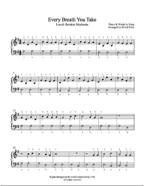testo roxanne every breath you take by the piano sheet