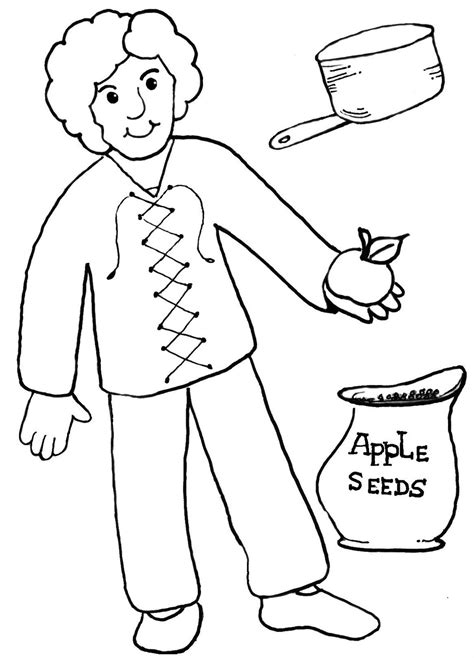 appleseed coloring page johnny appleseed color pages printable pages homeschool