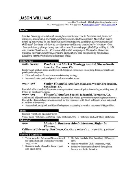 Sle Of Resume Format by Sle Resume Format Pdf 28 Images Cover Letter Email