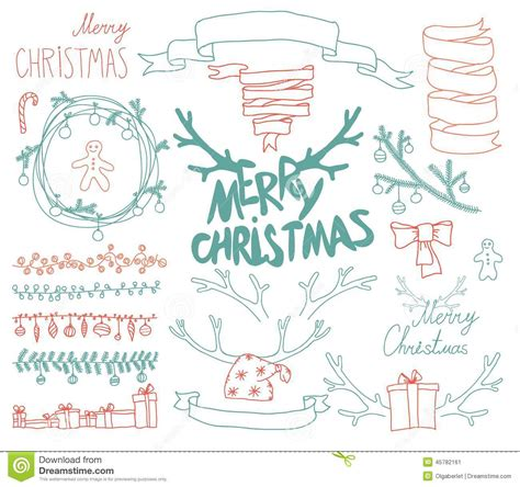 calligraphic design elements and page decoration vector set vector set christmas calligraphic design elements stock