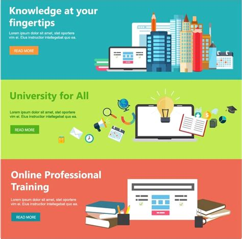 online education web design templates with horizontal