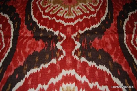 Blue Ikat Upholstery Fabric Ikat Exotic Tribal Modern Vibrant Red Gold Brown Jagged
