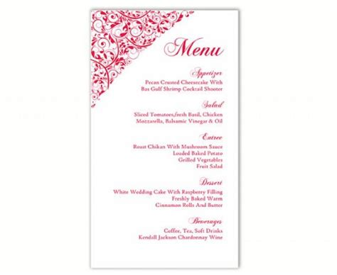 free editable menu templates wedding menu template diy menu card template editable text