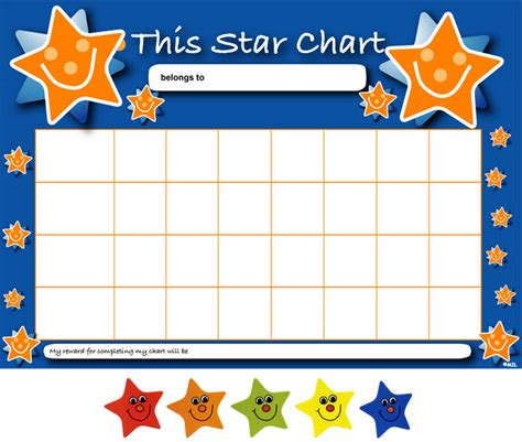 printable star behavior chart star reward charts stickers pack