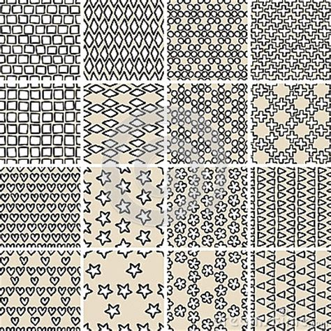 basic doodle seamless pattern set no 7 in black and white basic doodle seamless pattern set no 10 in black and white