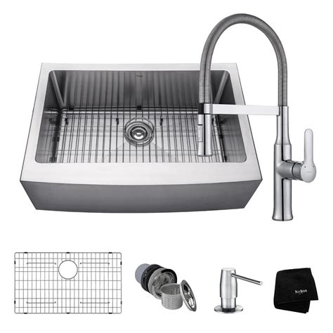 farmhouse sink with faucet holes kraus all in one farmhouse apron front stainless steel 30
