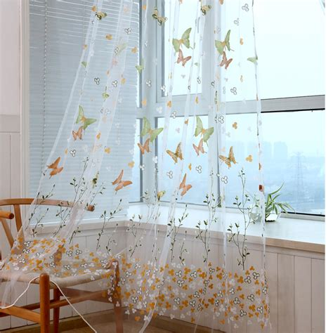sheer butterfly curtains floral butterfly sheer curtains sheers voile tulle window
