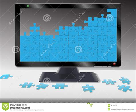 information desk sign crossword computer or hdtv monitor jigsaw puzzle royalty free stock
