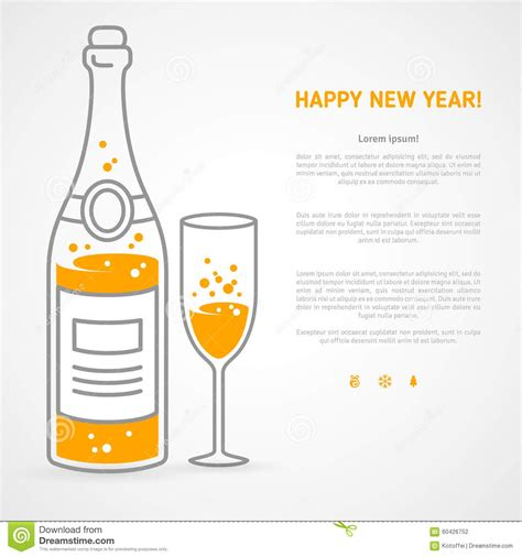 happy new year glassy design happy new year greeting card with chagne bottle and