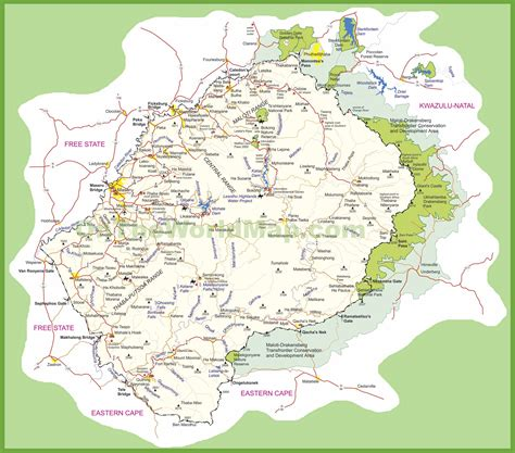 lesotho map travel map of lesotho