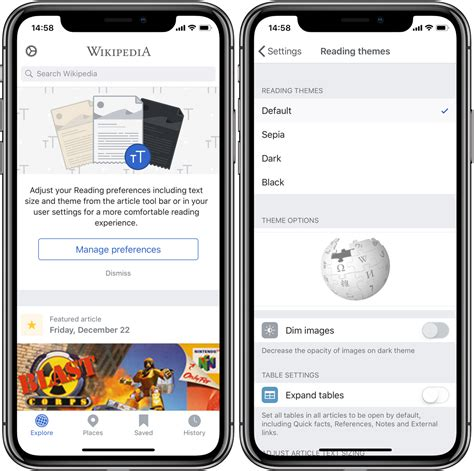 themes in reading in the dark wikipedia for ios picks up black reading theme perfect for