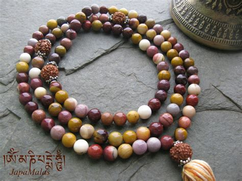 what is a guru bead mookaite jasper japa mala with rudraksha guru bead