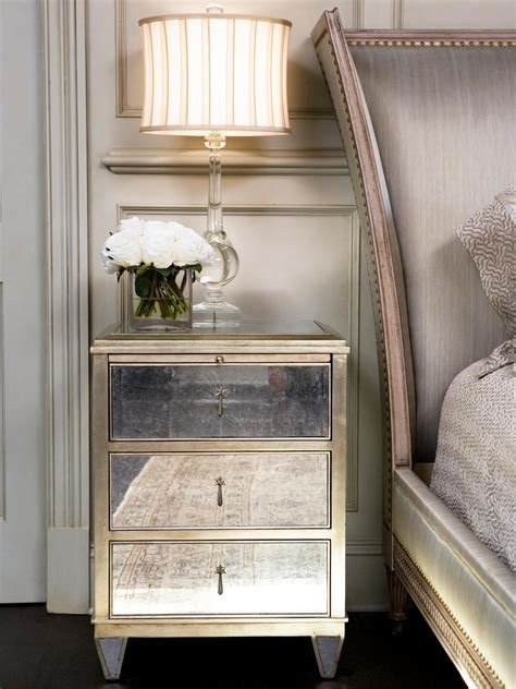 nightstand ideas bedroom mirrored nightstand design with drawer and table