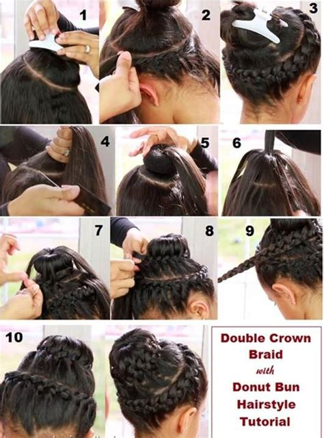 make a bun wth braiding hair double crown braid with doughnut bun hairstyle tutorial