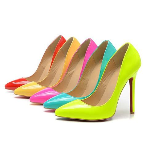 color shoes free shipping new 2014 neon color high heel pumps
