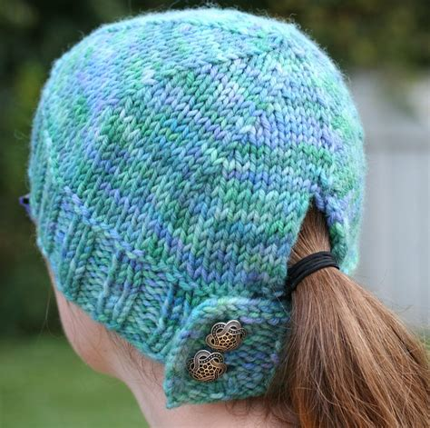 free knitting pattern hat pinterest free knitting pattern for buttoned ponytail hat knitting