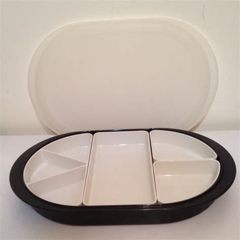 sectioned serving tray new vintage tupperware black preludio serving tray set