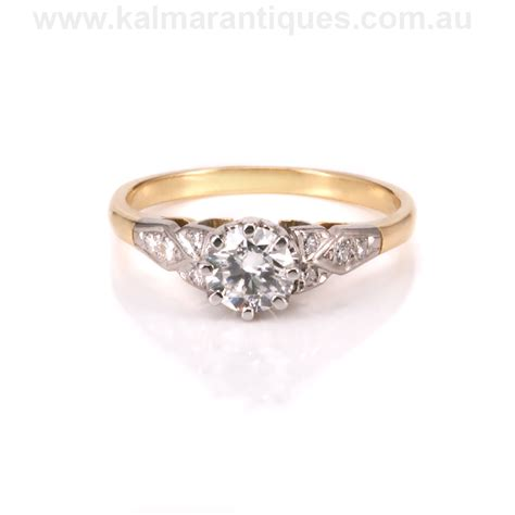 deco gold engagement rings deco engagement ring in 18ct yellow gold and platinum