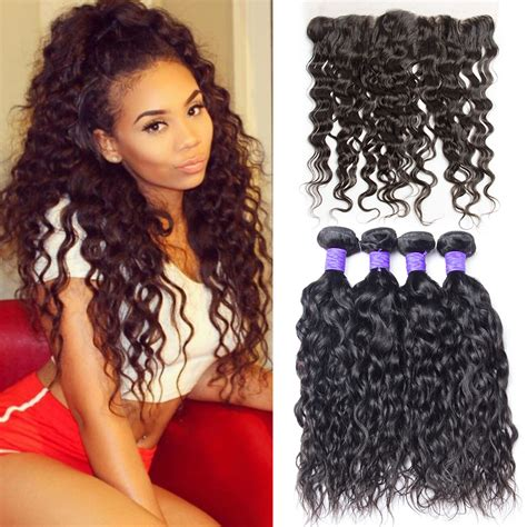 brazilian water wave virgin hair with closure wet and wavy hair 3 brazilian water wave 3 bundles with lace frontal closure