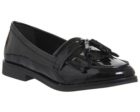 loafers patent womens office frazzle tassle loafers black patent leather
