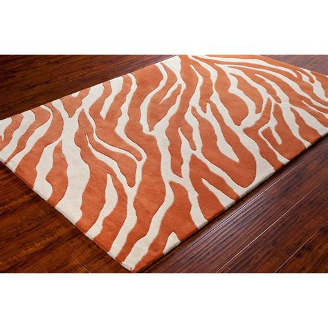 Orange And White Rugs by Stella Collection Tufted Area Rug In Orange White Design By Cha Burke Decor