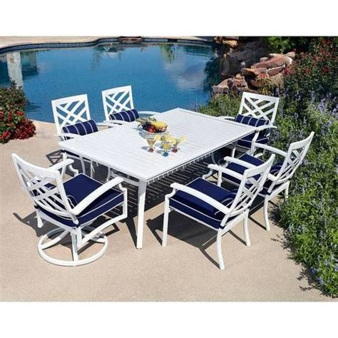White Patio Furniture Set 7pc Aluminum Outdoor Dining Table Chairs White Patio Furniture Set