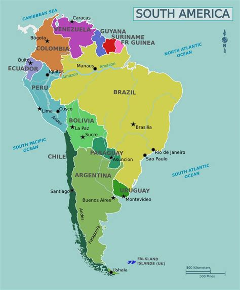large map of large political map of south america guiana