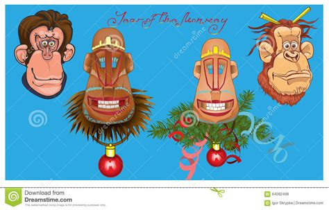 new year monkey element vector illustration of monkeys stock vector image 64082498