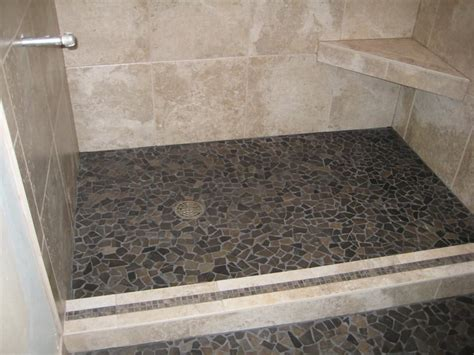 rock tile shower floor small flat shower floor yelp