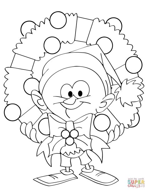 coloring book page wreath cartoon guy holding christmas wreath coloring page free