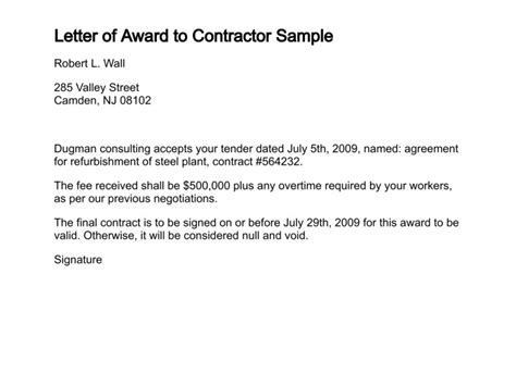 Contract Award Notification Letter Sle Letter Of Award