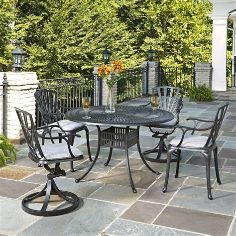 Aluminum Cast Patio Dining Sets Home Styles Largo 48 In Cast Aluminum Charcoal Outdoor 5 Patio Dining Set 5560 328 The