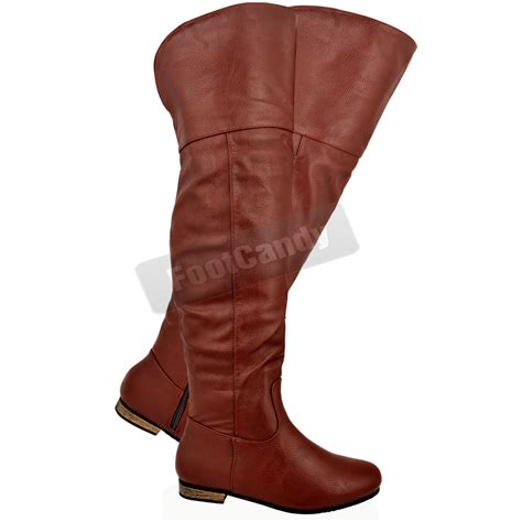 womens the knee thigh high low heel zip winter