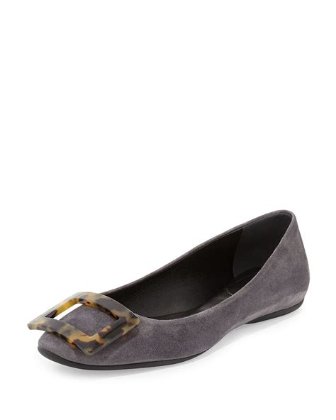 roger vivier flat shoes lyst roger vivier gommette suede ballet flats in gray