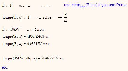 solved: i want to find torque from standard power formula