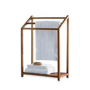 free standing bath towel rack buy teak free standing towel rack from bed bath beyond