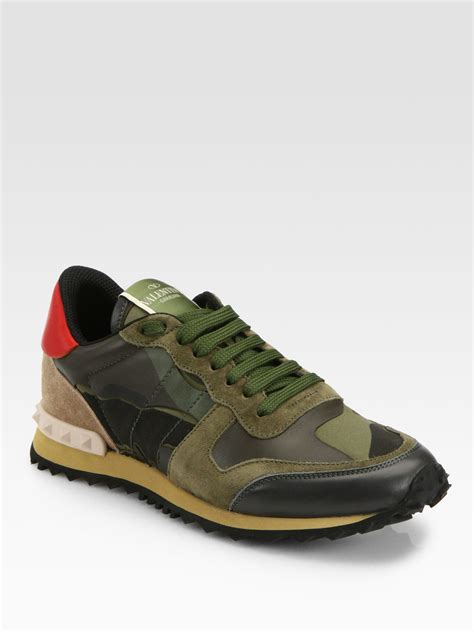 valentino sneakers valentino camouflage leather suede sneakers in green lyst