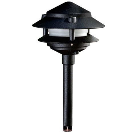 Pagoda Landscape Lights Hton Bay Low Voltage 10 Watt Black Halogen Bollard Light Hd28612bk The Home Depot