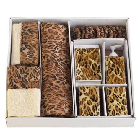 leopard print bathroom set safari theme wildside towels