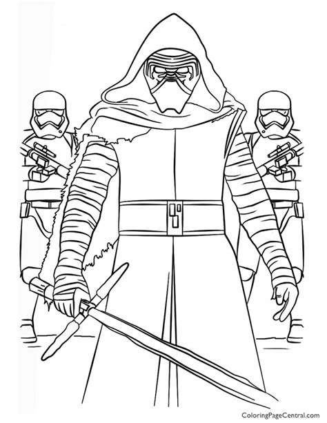 star wars coloring page kylo ren star wars kylo ren and first order coloring page