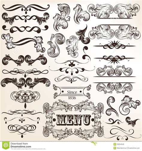 vintage design elements vector set 23 collection of vintage vector decorative calligraphic