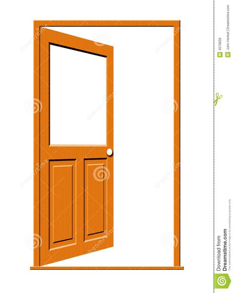 Unlock A Door by Open Wood Door With Blank Window Stock Illustration