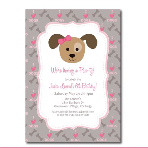 puppy birthday card template puppy invitation with editable text