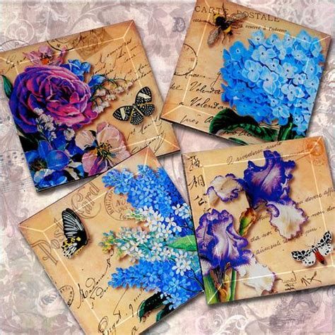 How To Make Decoupage Coasters - vintage decoupage glass coaster set birds of a