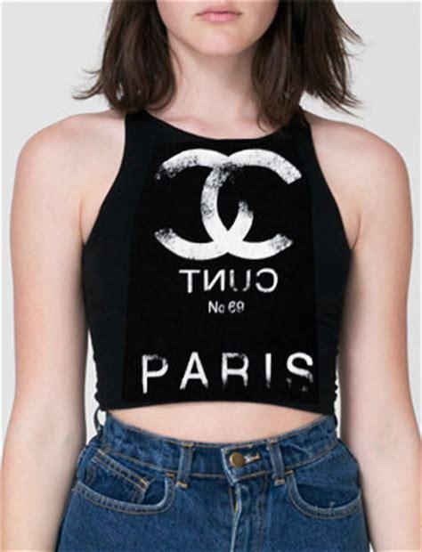 Chanel Top chanel tnuc no69 black crop top kult