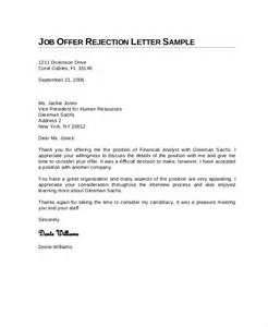 Employment Letter Rejection 9 Rejection Letters Free Sle Exle Format