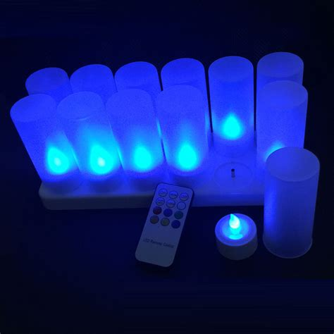 led tea lights with remote 12 pack rgb changing rechargeable led light up candles tea