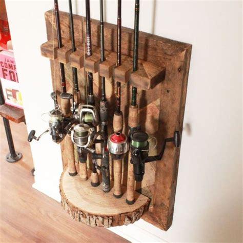 barn wood fishing rod rack   fishing rod rack