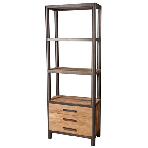 etagere 200 cm biblioth 232 que colonne bois recycl 233 3 tiroirs 2 233 tag 232 res